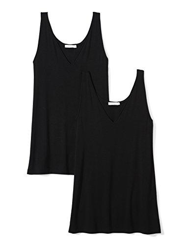 Daily Ritual Women's  Jersey V-Neck Tank, Black/Black, ()