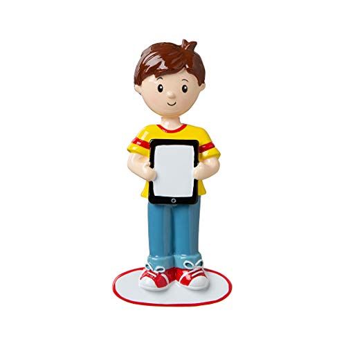 Personalized Boy with Ipad I Have a Pic Christmas Tree Ornament 2019 - Teen Game New Addict Love Hobby Selfie Social Share App Age Fun Kid Angry Star Crush Ninja Movie Grand-Son - Free Customization (Christmas Angry 2019 Grandpa)