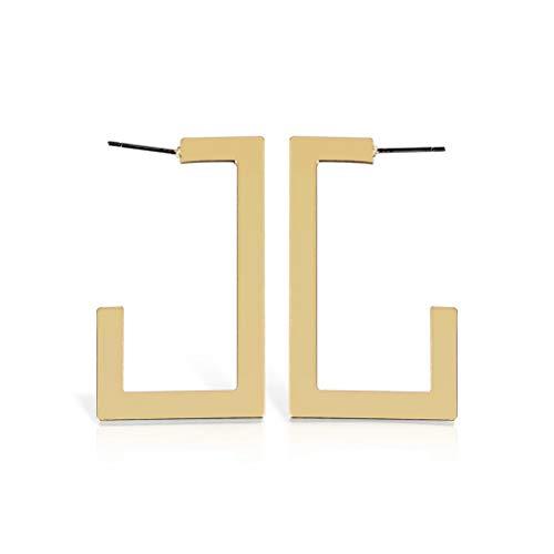 - Essencedelight Exaggerated Geometric Earrings Simple Geometric Hoop Earring Oversize Square-Shaped Polished Earrings for Women