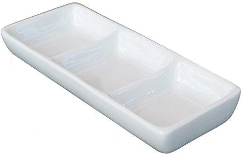 Divided Sauce Dish - 3-Compartment Ceramic Sauce Dish, 8.75 inch x 4.125 Inch, Bone White (1 Unit)