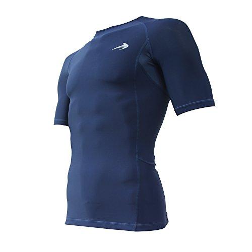 Compression Shirt Short Sleeve Top (Navy M) Best Running T-Shirt & Basketball Men's Tee