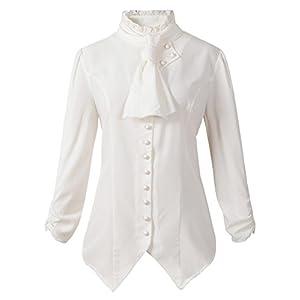Womens Gothic Victorian Steampunk Ruffle Vamp Renaissance Pirate Blouse Shirt Top