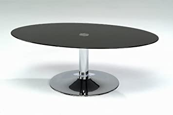 Table Basse Ovale En Verre Noir Et Chrome Large Pied Central