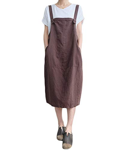 FLORHO Women Casual Strappy Pinafore Overalls Loose Midi Dress with Side Pockets Coffee XL
