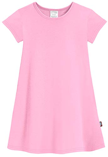 City Threads Big Girls' Cotton Short Sleeve Cover Up Dress for Sensitive Skin SPD Sensory Friendly, Bright lt. Pink, 16