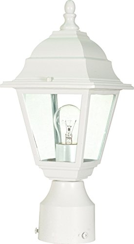 (Nuvo 60/546 Post Lantern with Clear Glass, White)