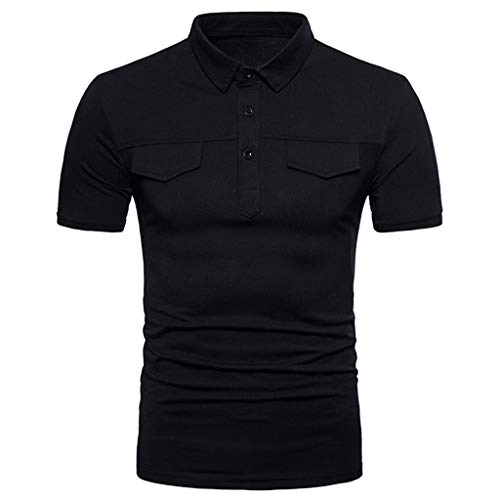 Men's Fashion Business Button Polo Shirt, MmNote Cotton Blend Cool Quick Active Performance Sports Modern Fit Short Sleeve Black