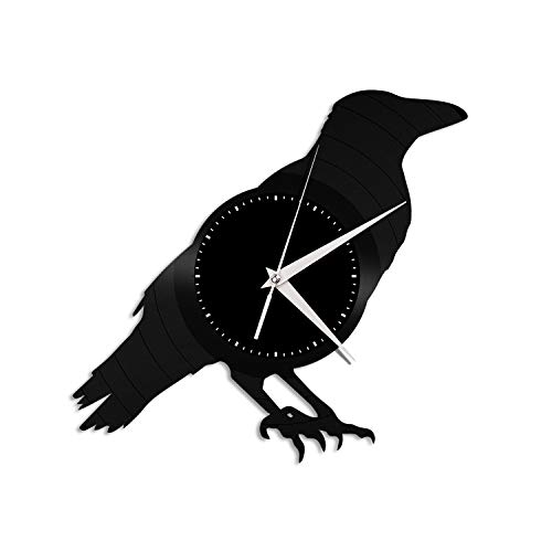 (VinylShopUS - Crow Vinyl Wall Clock Unique Art Design Clock Gift for Birds Lovers | Home and Kids Room Decoration )