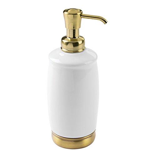 mDesign Tall Refillable Ceramic Liquid Hand Soap Dispenser Pump Bottle for Bathroom, Powder Room, Kitchen - Holds Soaps, Sanitizer & Essential Oils - White/Soft Brass