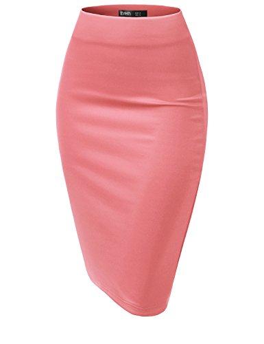 - TWINTH Women's Elastic Waist Stretch Bodycon Midi Pencil Skirt Coral S
