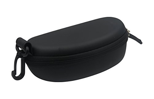 Sports Sunglasses Case - Semi Hard Black Eyeglasses Case with Black Zipper closure and Belt Clip | for Medium to Large Frames | Men & Women | B15HC Black with - Large Frame Male