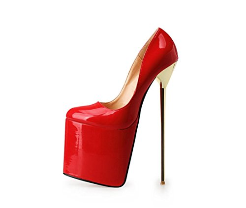 Rosso 5 Mouth Primavera Tacco Nvxie 45 uk Pu Con Stiletto Donne Eur Shallow Nightclub Nuovo Sexy Dressy Red eur43uk9 Scarpe Alto Prom Impermeabile Nero 10 Artificiale ZwYqOgzw