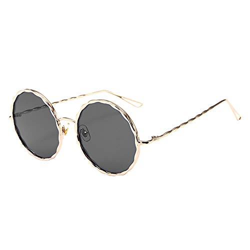 JJLIKER Unisex Polarized UV 400 Protection Sunglasses Fashion Classic Round Len Thin Metal Frame Lightweight Goggles Black