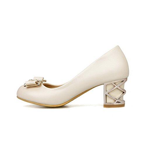 Allhqfashion Womens Tacco A Spillo Solido Materiale Morbido Pull-on Tacco Chiuso Pompe-scarpe Beige
