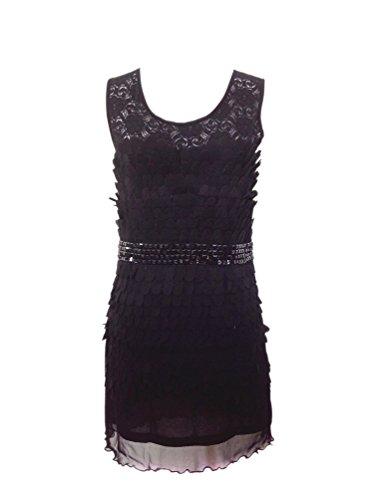 (Lace Flower 1920s Antique Vintage Reproduction Flapper Dresses Clothing Black)