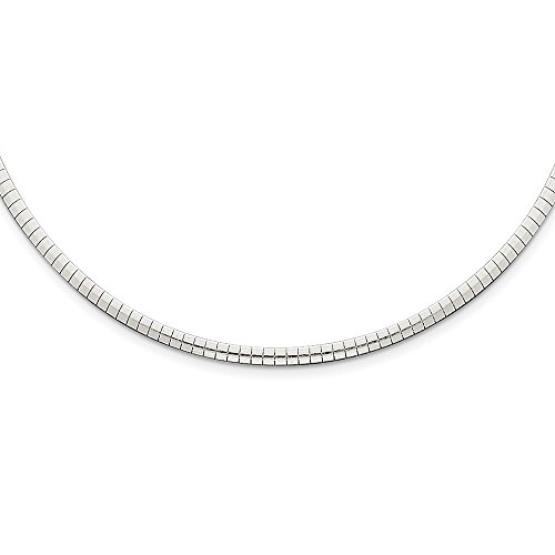 Sterling Silver Omega Omega Necklace Polished Semi-Solid 3mm Cubetto Necklace