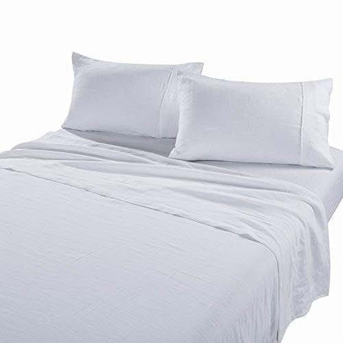 meadow park Stone Washed Pure Linen Sheet Set 4 Pieces - Super Soft - Deep Pocket, King Size, White
