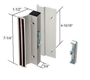Sliding Glass Patio Door Handle Set, Hook Style, Surface Mount, 1-1/2'' Standard Handle Profile, 4-15/16'' Screw Holes, Aluminum