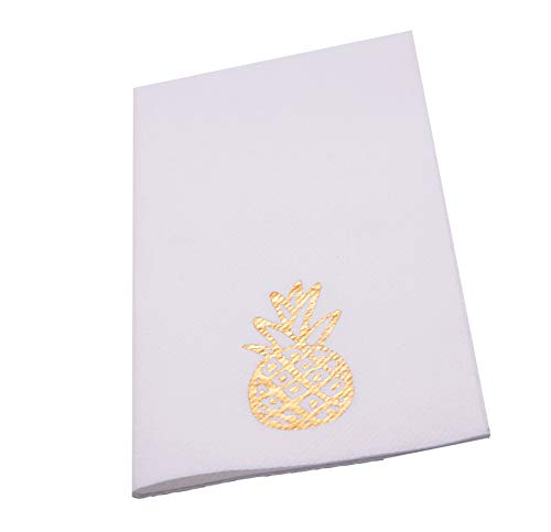 Moyes Home Decorative Luxury Gilded Pineapple Air Laid Guest Towel,Set of 50 16x8 inch, Linen-Feel, Disposable Like Soft & Comfortable Perfect Dinner Napkins for Wedding Dinner or ()