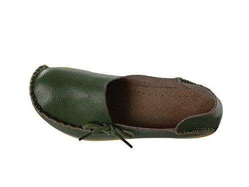 Century Star Para Mujer De Cuero Informal Con Cordones De Confort Anudado Mocasín Zapatillas Zapatillas De Barco Zapatillas De Conducción Plana Mocasines Ejército Verde