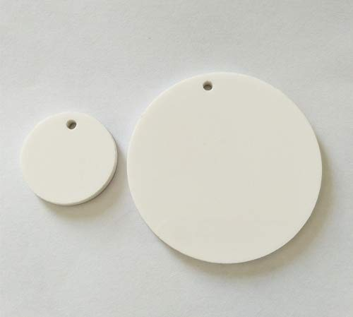 """15PCS White Acrylic Round Circle with Hole,White Plexiglass Blank Circle Round Disc Keychain Earring Accessory 1/8"""" Thickness (3.0"""")"""