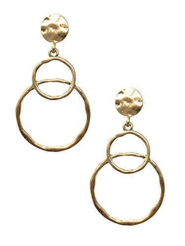 """- Hammered Look Distressed Gold-Tone Post Back Double Hoop Dangle Earrings 2 3/8"""" Long 1 1/4"""" Wide"""