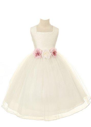 Ivory Silk Flower Girl Dress - 1