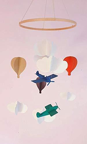 Móvil para bebé, Móvil para globo/avión en cartón reciclado, Círculo de madera, Decoración de avión, Regalo para bebé, Estilo escandinavo, Móvil para cuna