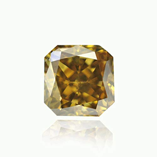 Leibish & Co 0.73Cts Fancy Dark Brown Greenish Yellow Loose Diamond Natural Color Radiant GIA