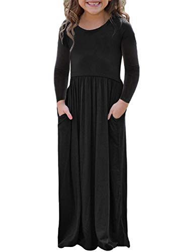Malaven Girl's Maxi Dress Cap Sleeve Cinched Long Dress with Pockets Black ()