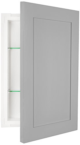 WG Wood Products FR-224-Primed Shaker Style Frameless Recessed In Wall Bathroom Medicine Storage Cabinet-Multiple Finishes, ready to paint/Uncoated, Primed by WG Wood Products