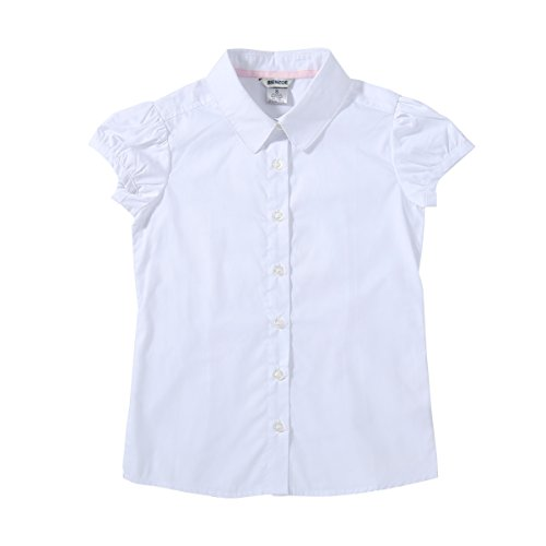 Bienzoe Big Girl's School Uniforms Oxford Short Puff Sleeve Blouse White XL