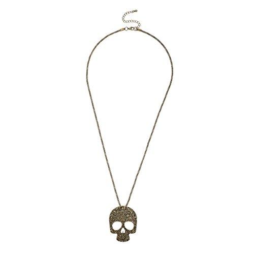 Lux Accessories Burnish Goldtone Sugar Skull Pendant Necklace (Sugar Skulls Costume)