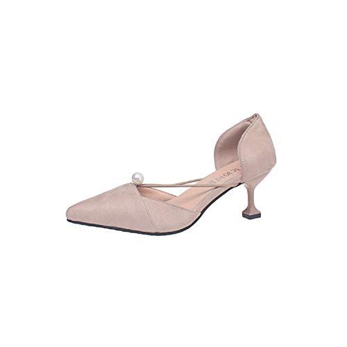 Pearl Beige De Altos En Mujer De Zapatos Damas Vino Baja zapatos de Yukun Boca Altos Tacones Otoño alto Copa Tacones con Punta Suede tacón De 6TwxSFOqz