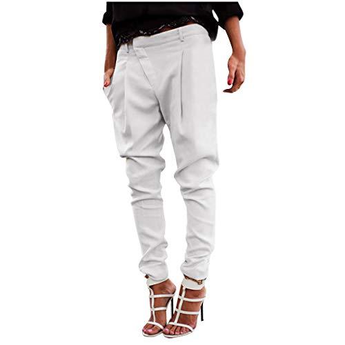 TIFENNY Loose Pencil Pants for Women Casual Fashion Plus Size Pure Color Pocket Trousers Asymmetrical Pants White