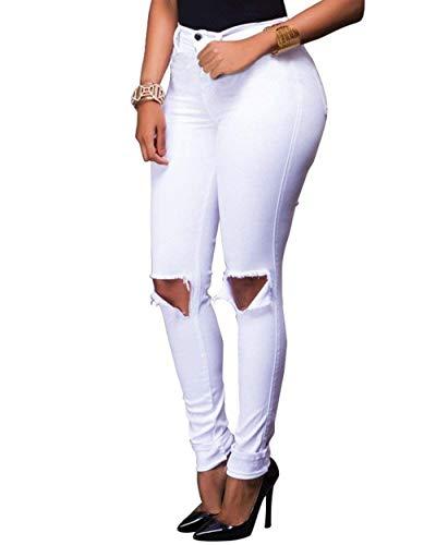 Las Casuales De Lápiz Als Alto Botones Elásticos Mezclilla Color Sólido Pantalones Mujeres Agujero Rasgado Bild Flaco pgEqw
