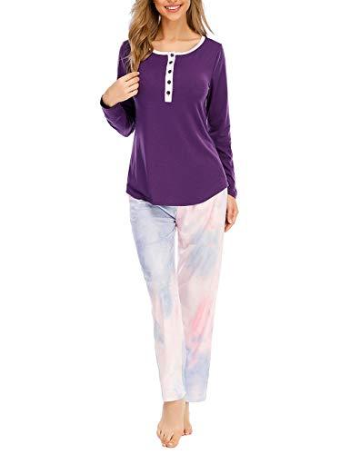 CIZITZZ Womens Tie Dye Pajama Sets Long Sleeves Pjs Drawstring Sleepwear with Pockets,Purple,XL
