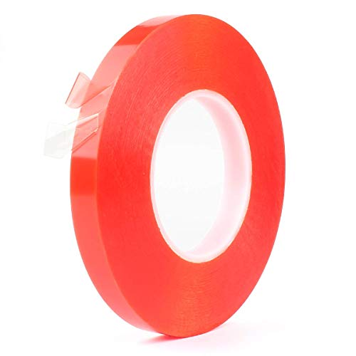 Atemto Double Sided Tape Heavy Duty, Two Sided Adhesive Tape Clear 0.6 Inch x 55 Yards Outdoor PET Acrylic Sticker Thin Weatherproof Ultra Strength Industrial Mounting Tape (15mm)