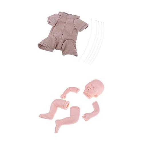 Prettyia Handmade DIY 20'' Reborn Kits Soft Silicone Blank Baby Doll Mold Suede Cloth Body Set Hands-On Toy