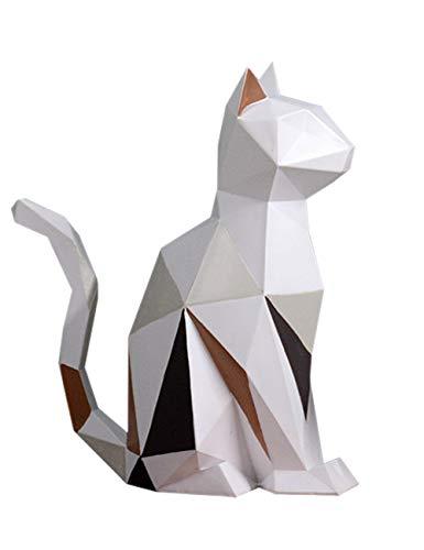 HomeBerry Cat Sculpture Figurine Statue Animal Home Decor Gift Decoration Arts Crafts Hand Painted Polyreisn 18.5cmH