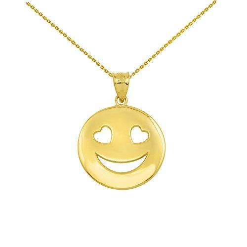 10k Gold Smiling Heart Shaped Eyes Round Pendant Necklace, - Shaped Faces Round