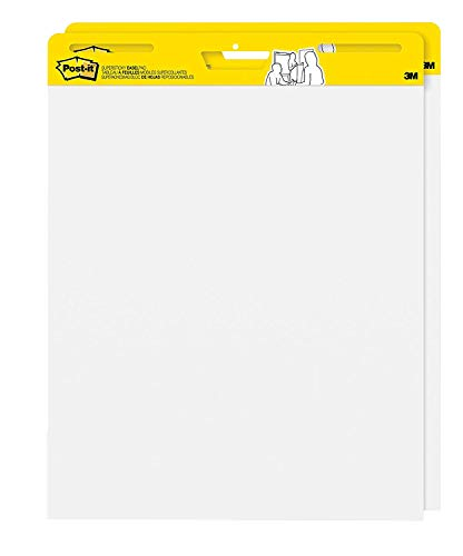 (Post-it Super Sticky Easel Pad, 25 x 30 Inches, 30 Sheets/Pad, 2 Pads, Large White Premium Self Stick Flip Chart Paper, Super Sticking Power)