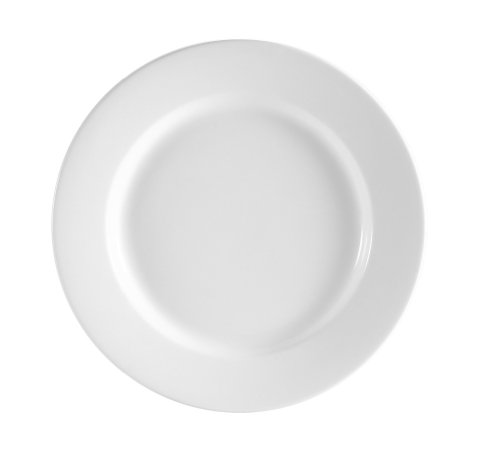 CAC China RCN-21 Clinton Rolled Edge 12-Inch Super White Porcelain Plate, Box of 12 - Edge Porcelain