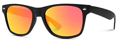 - WearMe Pro - Premium Horn Rimmed Style Glasses Matte Frame Mirrored Lens Sunglasses