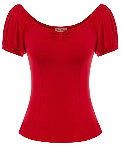 Women's 50s Blouse Short Sleeve Red Cotton Tee Shirt Tops