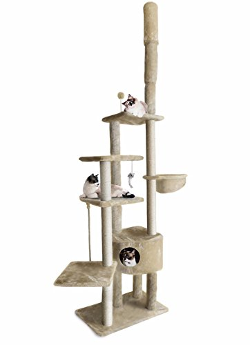 FurHaven Pet Cat Tree | Tiger Tough Cat Tree House Furniture for Cats & Kittens, Skyscraper Playground, Cream ()
