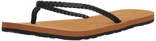 Weekender Strap Sandal Para VolcomW0811812 Synthetic sandalia Negro cuero sintético mujer Braided Leather Fashion 0qqARw