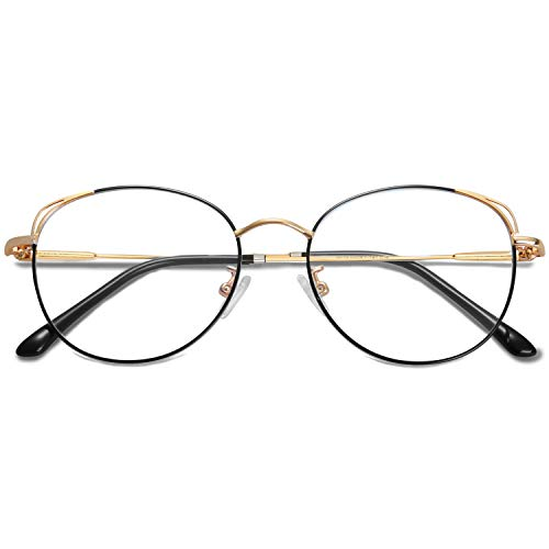 SOJOS Cat Eye Blue Light Blocking Glasses Hipster Metal Frame Women Eyeglasses She Young SJ5027 with Black&Gold Frame/Anti-blue light Lens
