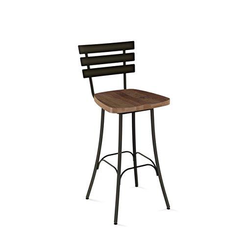 (Amisco Stadium Swivel Metal Barstool in Semi-transparent Gun Metal Finish and Medium Brown Distressed Wood)