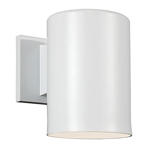 Sea Gull Lighting 8313901BLE-15, Bullets Cast Al ES Outdoor Wall Sconce Lighting CFL, White - Es Outdoor Sconce